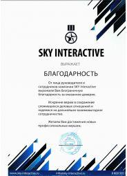 Благодарность от SKY INTERACTIVE